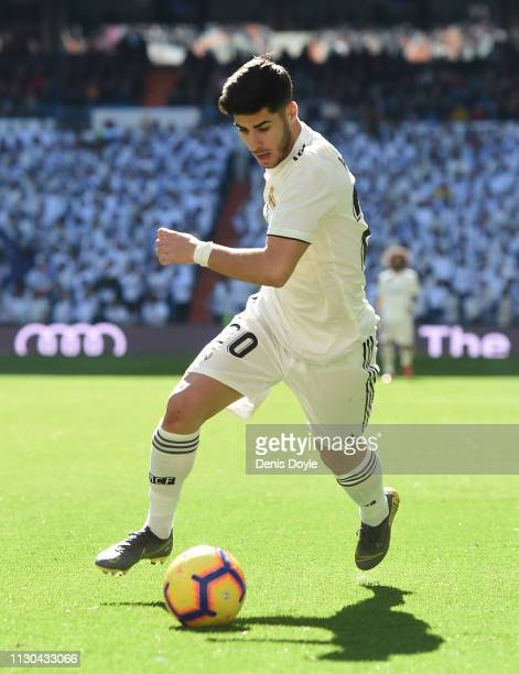 Marco Asensio of Real Madrid in action during the La Liga match between Real Madrid CF and Girona FC at Estadio Santiago Bernabeu on February 17 2019...