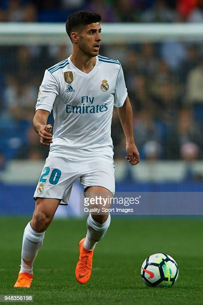 Marco Asensio of Real Madrid in action during the La Liga match between Real Madrid and Athletic Club at Estadio Santiago Bernabeu on April 18 2018...
