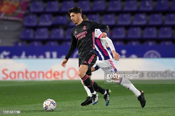 Marco Asensio of Real Madrid in action during the La Liga Santander match between Real Valladolid CF and Real Madrid at Estadio Municipal Jose...
