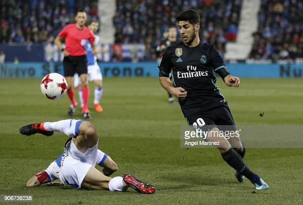 Marco Asensio of Real Madrid in action during the Spanish Copa del Rey Quarter Final First Leg match between Leganes and Real Madrid at Estadio...