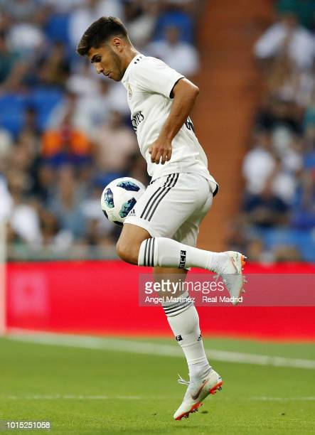 Marco Asensio of Real Madrid in action during the Trofeo Santiago Bernabeu match between Real Madrid and AC Milan at Estadio Santiago Bernabeu on...