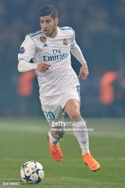 Marco Asensio of Real Madrid in action during the UEFA Champions League Round of 16 Second Leg match between Paris SaintGermain and Real Madrid at...