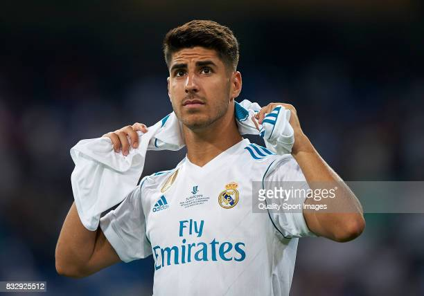Marco Asensio of Real Madrid looks on after wining the Supercopa de Espana Supercopa Final 2nd Leg match between Real Madrid and FC Barcelona at...