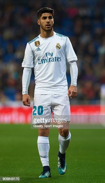Marco Asensio of Real Madrid looks on during the Spanish Copa del Rey Quarter Final Second Leg match between Real Madrid and Leganes at Bernabeu on...