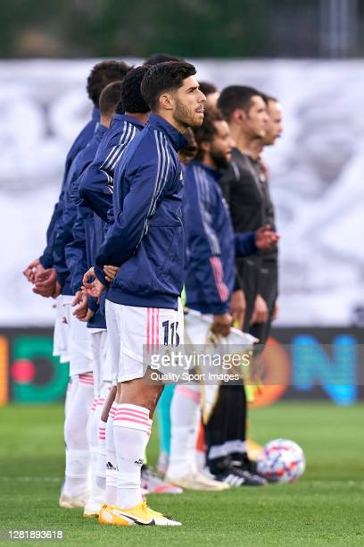 Marco Asensio of Real Madrid looks on prior the game during the UEFA Champions League Group B stage match between Real Madrid and Shakhtar Donetsk at...