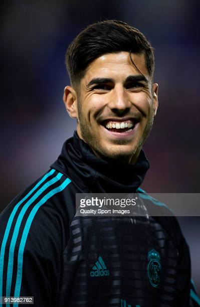 Marco Asensio of Real Madrid looks on prior the La Liga match between Levante and Real Madrid at Ciutat de Valencia Stadium on February 3 2018 in...