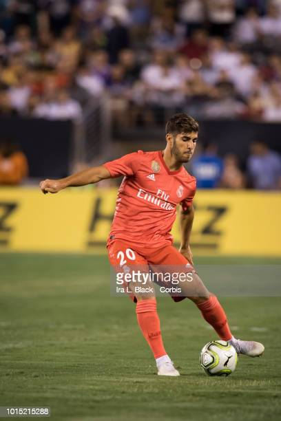 Marco Asensio of Real Madrid passes the ball during the International Champions Cup match between Real Madrid CF and AS Roma at MetLife Stadium on...