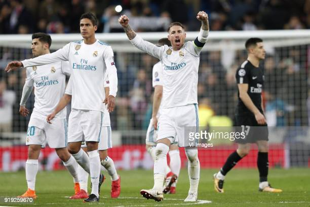 Marco Asensio of Real Madrid Raphael Varane of Real Madrid Sergio Ramos of Real Madrid Yuri Berchiche of Paris SaintGermain during the UEFA Champions...