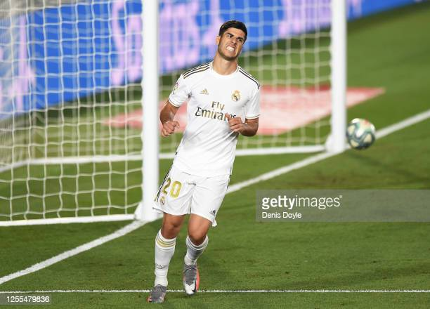 Marco Asensio of Real Madrid reacts after his goal was disallowed during the Liga match between Real Madrid CF and Deportivo Alaves at Estadio...