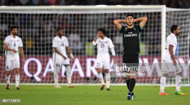 Marco Asensio of Real Madrid reacts during the FIFA Club World Cup UAE 2017 semifinal match between Al Jazira and Real Madrid on December 13 2017 at...