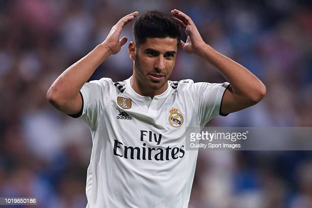 Marco Asensio of Real Madrid reacts during the La Liga match between Real Madrid CF and Getafe CF at Estadio Santiago Bernabeu on August 19 2018 in...