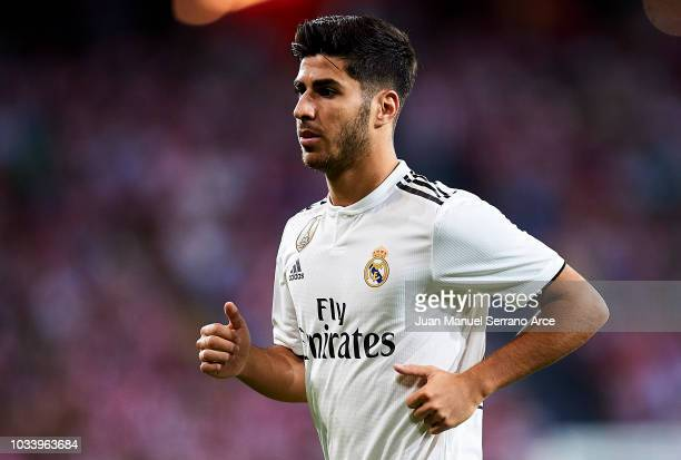 Marco Asensio of Real Madrid reacts during the La Liga match between Athletic Club Bilbao and Real Madrid at San Mames Stadium on September 15 2018...