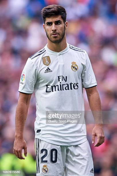 Marco Asensio of Real Madrid reacts during the La Liga match between Real Madrid CF and Levante UD at Estadio Santiago Bernabeu on October 20 2018 in...