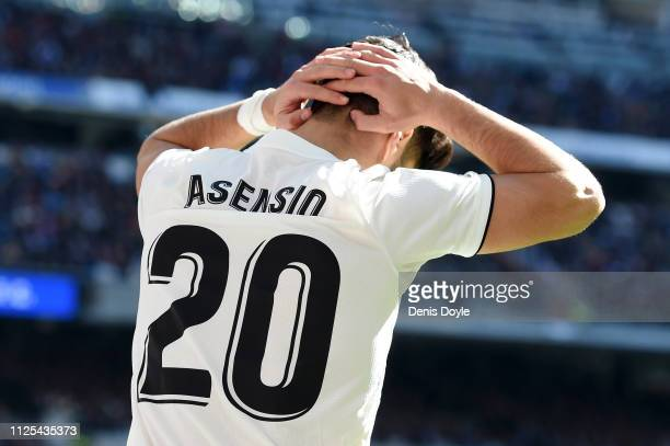 Marco Asensio of Real Madrid reacts during the La Liga match between Real Madrid CF and Girona FC at Estadio Santiago Bernabeu on February 17 2019 in...
