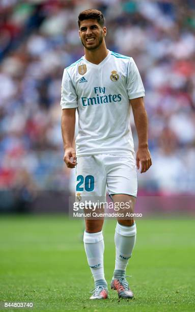 Marco Asensio of Real Madrid reacts during the La Liga match between Real Madrid and Levante at Estadio Santiago Bernabeu on September 9 2017 in...
