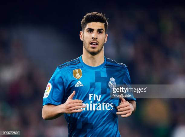 Marco Asensio of Real Madrid reacts during the La Liga match between Real Betis and Real Madrid at Benito Villamrin stadium on February 18 2018 in...