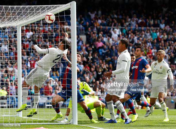 Marco Asensio of Real Madrid scores his side first disallowed goal during the La Liga match between Real Madrid CF and Levante UD at Estadio Santiago...