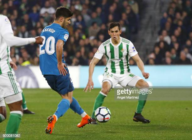 Marco Asensio of Real Madrid scores his team's third goal during the La Liga match between Real Betis and Real Madrid at Estadio Benito Villamarin on...