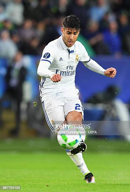 Marco Asensio of Real Madrid scores the opening goal during the UEFA Super Cup match between Real Madrid and Sevilla at Lerkendal Stadion on August 9...