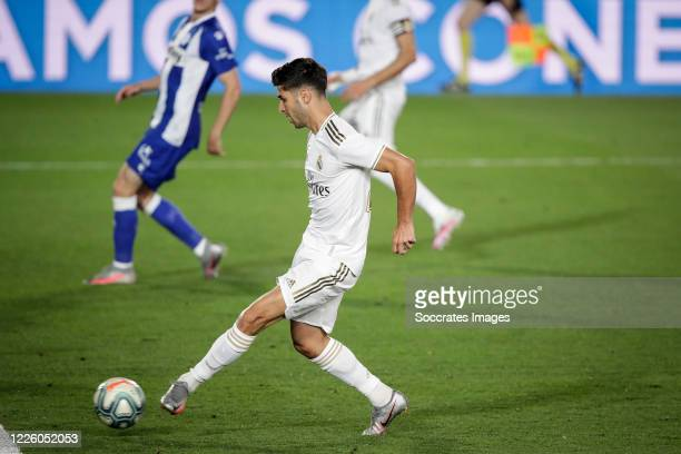 Marco Asensio of Real Madrid, scores the second goal to make it 2-0 during the La Liga Santander match between Real Madrid v Deportivo Alaves at the...