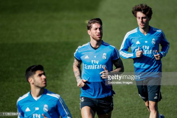 Marco Asensio of Real Madrid Sergio Ramos of Real Madrid Alvaro Odriozola of Real Madrid during the Training Real Madrid on March 1 2019