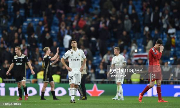 Marco Asensio of Real Madrid shows his disappointment after Ajax beat Real Madrid in the UEFA Champions League Round of 16 Second Leg match between...