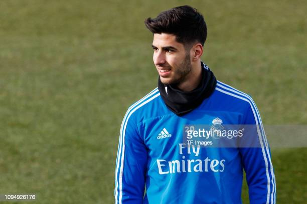 Marco Asensio of Real Madrid smiles during a training session at Valdebebas training ground on February 02 2019 in Madrid Spain