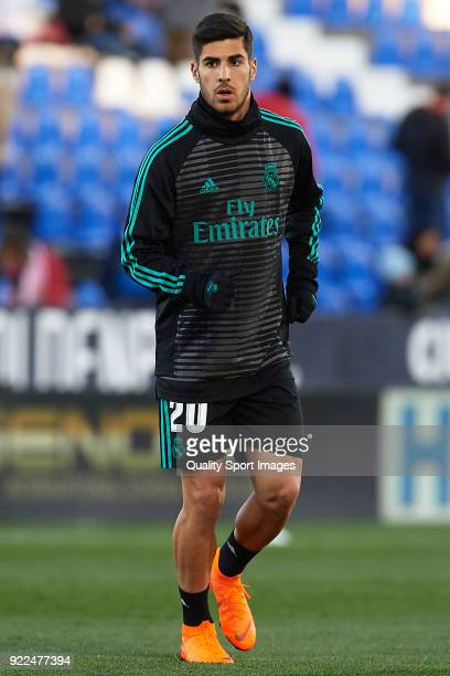 Marco Asensio of Real Madrid warms up prior to the La Liga match between CD Leganes and Real Madrid at Estadio Municipal de Butarque on February 21...