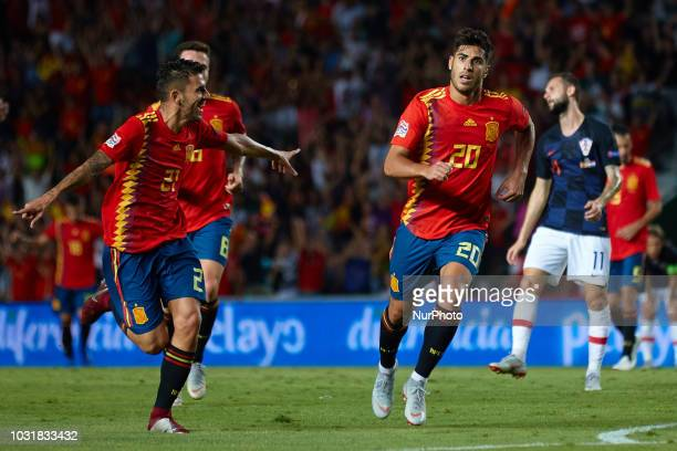 Marco Asensio of Spain and Dani Ceballos of Spain celebrates after scoring during the UEFA Nations League football match between Spain and Croatia at...