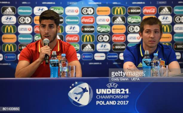 Marco Asensio of Spain and Spain head coach Albert Celades during a press conference ahead of their UEFA European Under21 Championship 2017 semifinal...