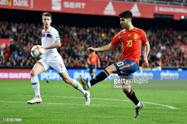 Marco Asensio of Spain attempts a chip during the 2020 UEFA European Championships group F qualifying match between Spain and Norway at Estadio de...