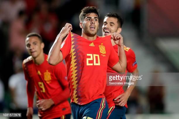 Marco Asensio of Spain celebrates 20 during the UEFA Nations league match between Spain v Croatia at the Estadio Manuel Martínez Valero on September...