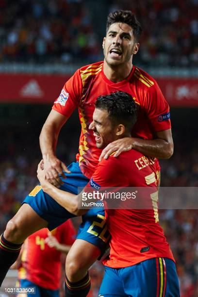 Marco Asensio of Spain celebrates after scoring during the UEFA Nations League football match between Spain and Croatia at Martinez Valero Stadium in...