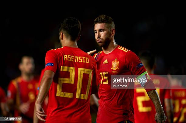 Marco Asensio of Spain celebrates after scoring his sides first goal whit Sergio Ramos during the UEFA Nations League football match between Spain...