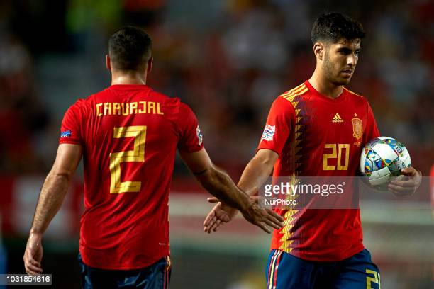 Marco Asensio of Spain celebrates after scoring his sides first goal whit Dani Carvajal during the UEFA Nations League football match between Spain...