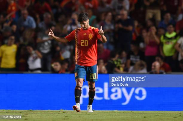 Marco Asensio of Spain celebrates after scoring his team's second goal during the UEFA Nations League A Group four match between Spain and Croatia at...