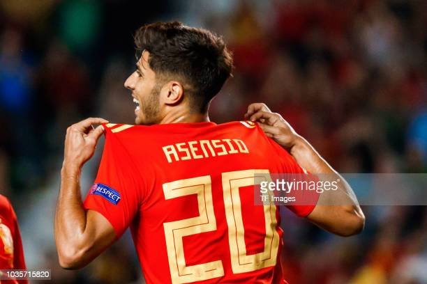 Marco Asensio of Spain celebrates after scoring his team`s second goal during the UEFA Nations League A group four match between Spain and Croatia at...