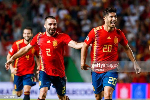 Marco Asensio of Spain celebrates after scoring his team`s third goal during the UEFA Nations League A group four match between Spain and Croatia at...