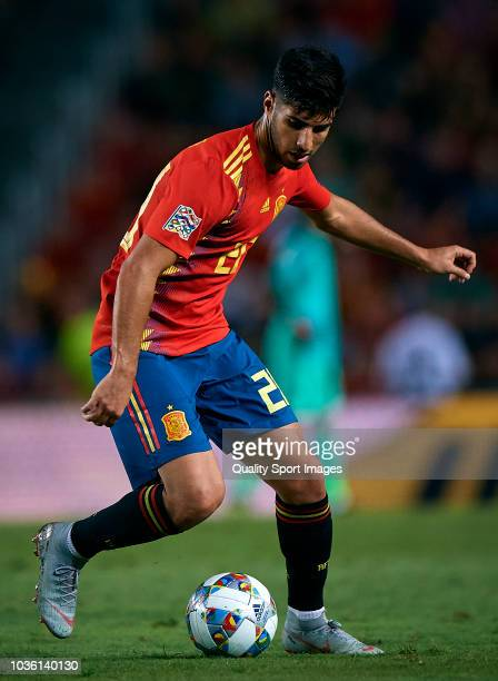 Marco Asensio of Spain controls the ball during the UEFA Nations League A group four match between Spain and Croatia on September 11 2018 in Alicante...