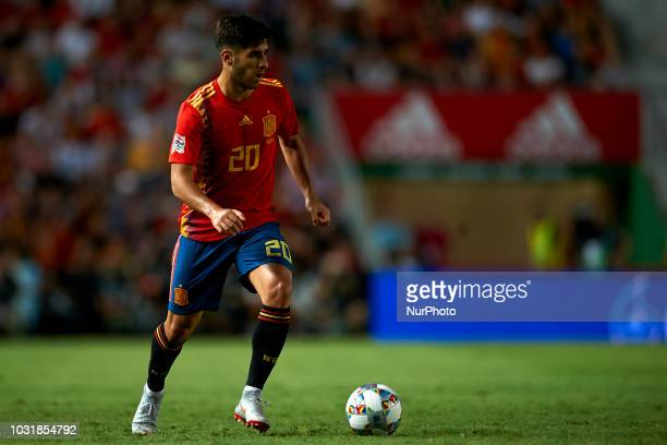 Marco Asensio of Spain controls the ball during the UEFA Nations League football match between Spain and Croatia at Martinez Valero Stadium in Elche...