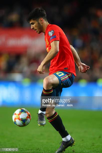 Marco Asensio of Spain during the 2020 UEFA European Championships group F qualifying match between Spain and Norway at Estadi de Mestalla on March...