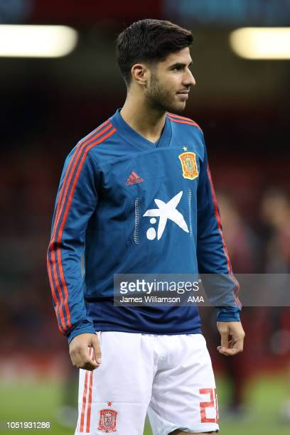 Marco Asensio of Spain during the International Friendly match between Wales and Spain on October 11 2018 in Cardiff United Kingdom