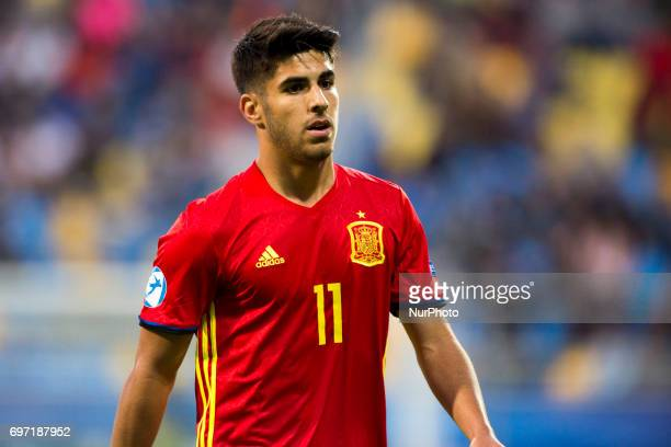 Marco Asensio of Spain during the UEFA Under 21 Championship Group B match between Spain and FYR Macedonia at Gdynia Stadium in Gdynia Poland on June...
