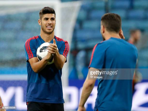 Marco Asensio of Spain gestures during a training session at Fisht Stadium on June 14 2018 in Sochi Russia