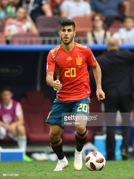Marco Asensio of Spain in action during the 2018 FIFA World Cup Russia Round of 16 match between Spain and Russia at Luzhniki Stadium on July 1 2018...