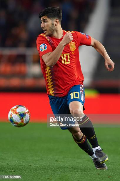Marco Asensio of Spain in action during the 2020 UEFA European Championships group F qualifying match between Spain and Norway at Estadi de Mestalla...