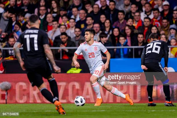 Marco Asensio of Spain in action during the International Friendly 2018 match between Spain and Argentina at Wanda Metropolitano Stadium on 27 March...