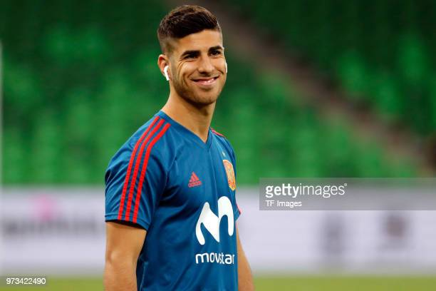 Marco Asensio of Spain laughs prior to the friendly match between Spain and Tunisia at Krasnodar's stadium on June 9 2018 in Krasnodar Russia