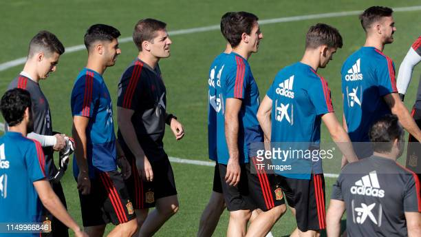 Marco Asensio of Spain looks on during a Spain international training session at Las Rozas sports complex on June 04 2019 in Madrid Spain