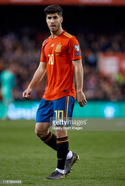 Marco Asensio of Spain looks on during the 2020 UEFA European Championships group F qualifying match between Spain and Norway at Estadi de Mestalla...